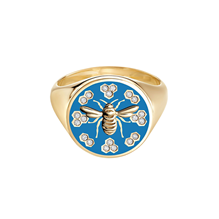 Birks Bee Chic Large Blue Enamel and Diamond Round Signet Ring