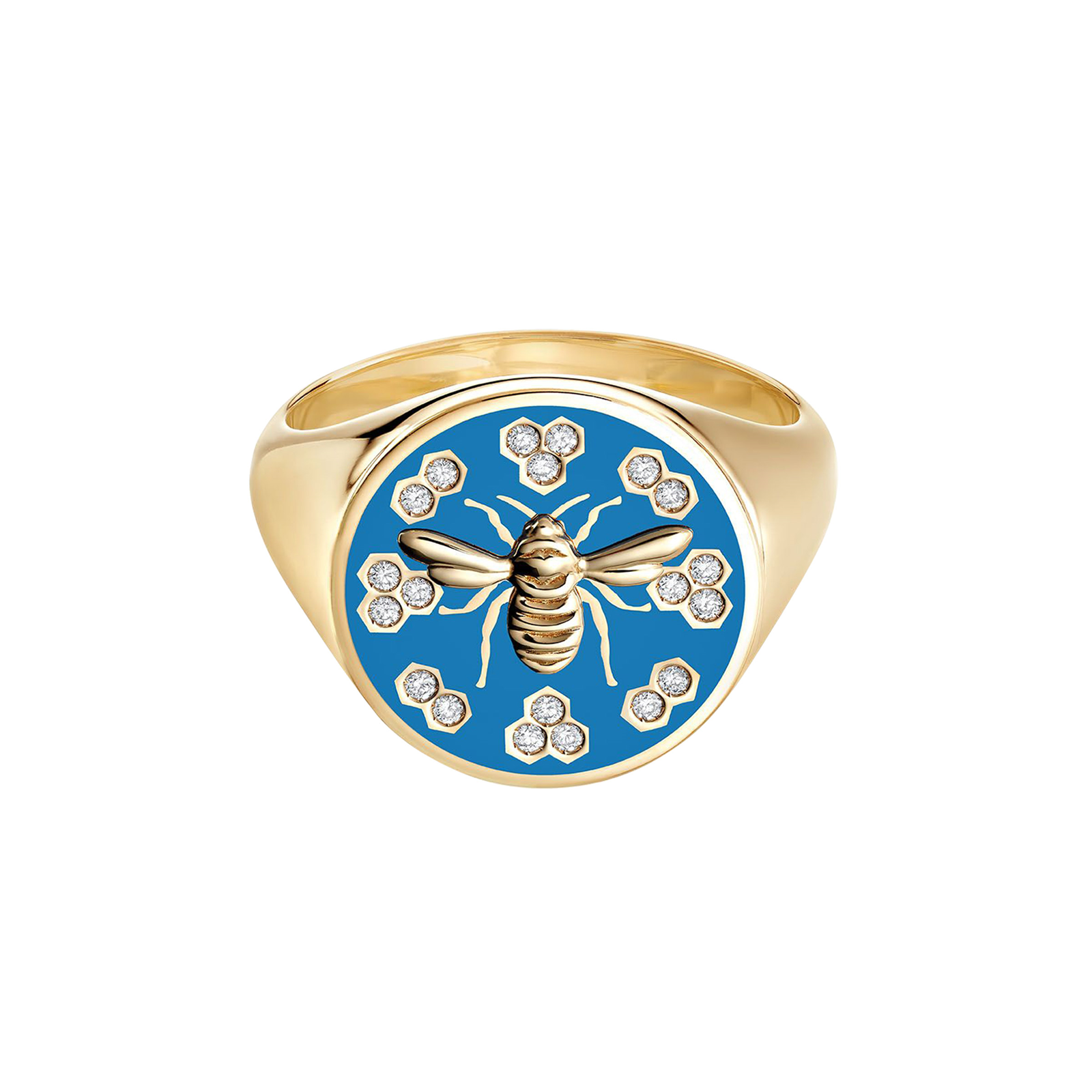 Birks Bee Chic Large Blue Enamel and Diamond Round Signet Ring - Ring Size J