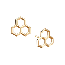 For Her - Birks Bee Chic Yellow Gold Hexagons Stud Earrings - 450013439371