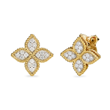 For Her - Roberto Coin Princess Flower 18ct Yellow and White Gold 0.37ct Diamond Stud Earrings - ADR777EA0639 YW