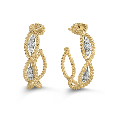 Roberto Coin New Barocco 18ct Yellow Gold 0.32ct Diamond Hoop Earrings