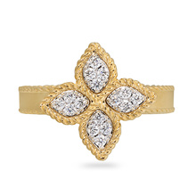 Roberto Coin Princess Flower 18ct Gold 0.18ct Rings - Rings Size N