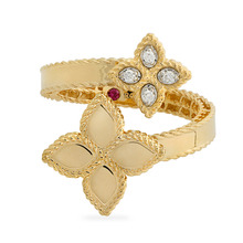 Roberto Coin Princess Flower 18ct Gold 0.18ct Ring - Rings Size M