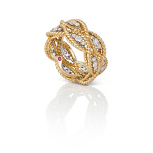 Roberto Coin New Barocco 18ct Gold 0.96ct 3 Row Ring - Rings Size M