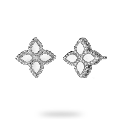 Roberto Coin Princess Flower 18ct White Gold Stud Earrings
