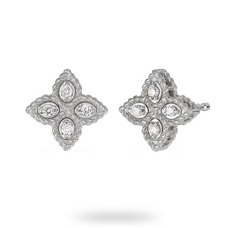 Roberto Coin Princess Flower 18ct White Gold Diamond Stud Earrings