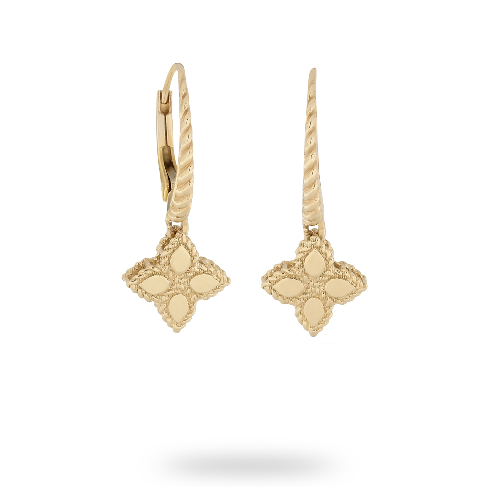 Roberto Coin Princess Flower Yellow Gold Drop Earrings