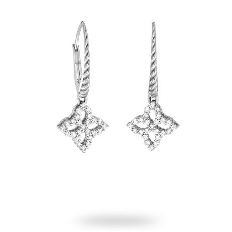 Roberto Coin Princess Flower White Gold 0.31ct Diamond Drop Earrings