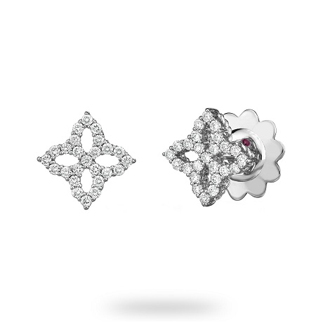 Roberto Coin Princess Flower White Gold 0.31ct Diamond Stud Earrings