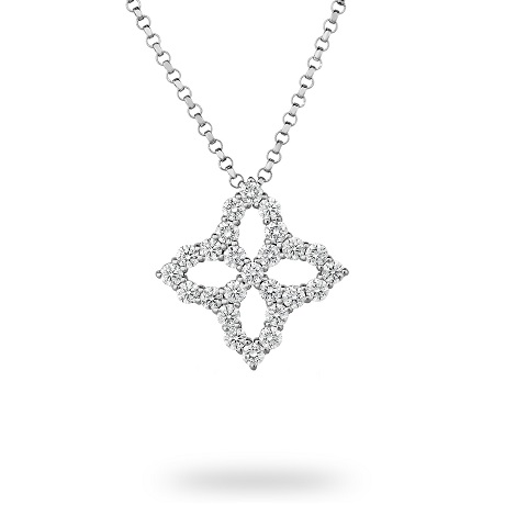 Roberto Coin Princess Flower White Gold 0.15ct Diamond Pendant