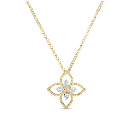 Roberto Coin Princess Flower 18ct Bi-Colour Gold Diamond Pendant