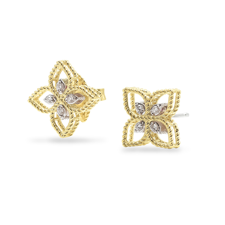 Roberto Coin Princess Flower 18ct Bi-Colour Gold Diamond Stud Earrings