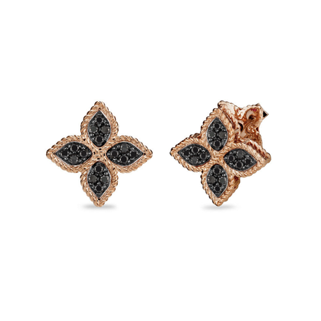 Roberto Coin Princess Flower 18ct Rose Gold Treated Black Diamond Stud Earrings