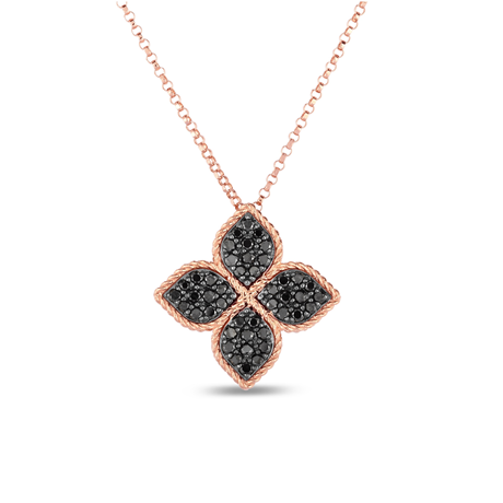 Roberto Coin Princess Flower 18ct Rose Gold Black Diamond Pendant