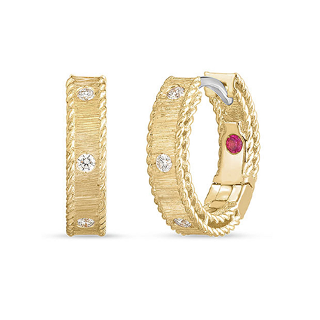 Roberto Coin Princess 18ct Yellow Gold Diamond Princess Hoop Earrings