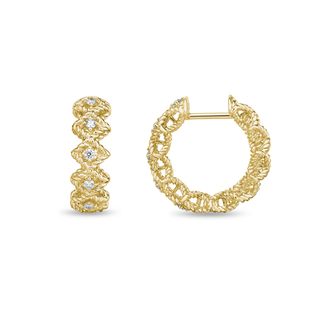 Roberto Coin Roman Barocco 18ct Yellow Gold Diamond Hoop Earrings