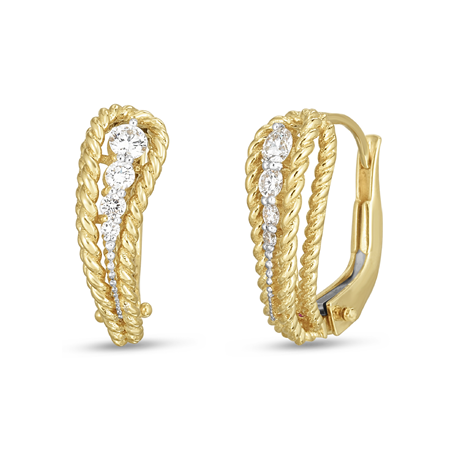 Roberto Coin New Barocco 18ct Yellow Gold Diamond Earrings