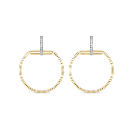 Roberto Coin 18ct Yellow Gold Diamond Classique Hoop Earrings