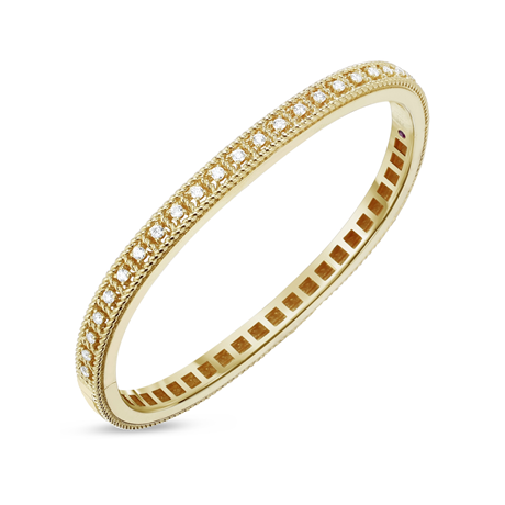 Roberto Coin 18ct Yellow Gold Diamond Roman Barocca Bangle