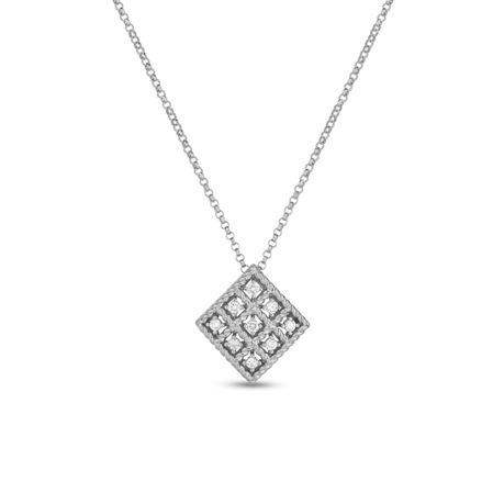 Roberto Coin 18ct White Gold Diamond Roman Barocca Pendant
