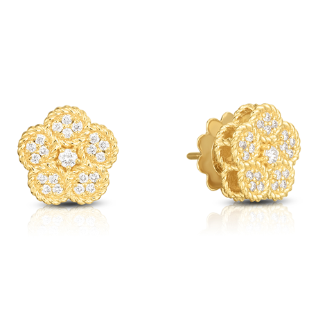 Exclusive Roberto Coin Flower 18ct Yellow Gold 0.32cttw Diamond Earrings