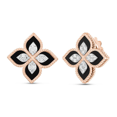 Roberto Coin Princess Flower 18ct Rose Gold and Black Jade Diamond Stud Earrings