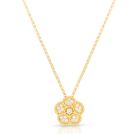 Exclusive Roberto Coin Flower 18ct Yellow Gold 0.16cttw Diamond Pendant