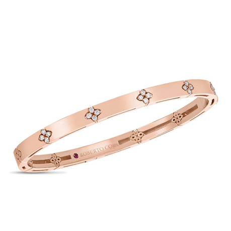 Roberto Coin 18ct Rose Gold Love in Verona 0.19ct Bangle