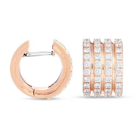 Roberto Coin 18ct Rose Gold Portofino Diamond Set Earrings