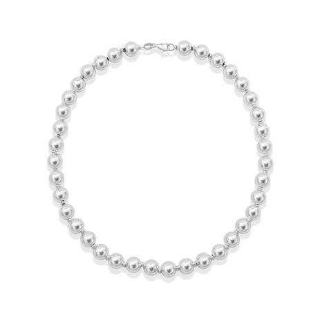 For Her - Sonnet Silver 10mm Bead Necklace - 37690097
