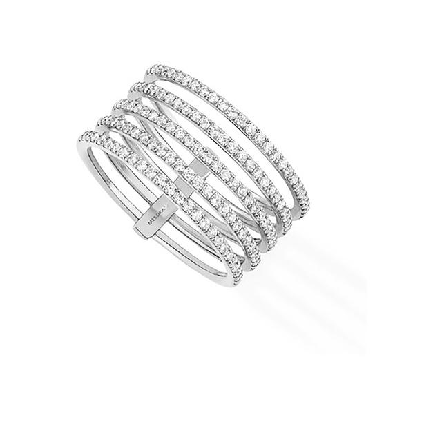 Messika Gatsby Five Row Diamond Ring in 18ct White Gold - Ring Size M