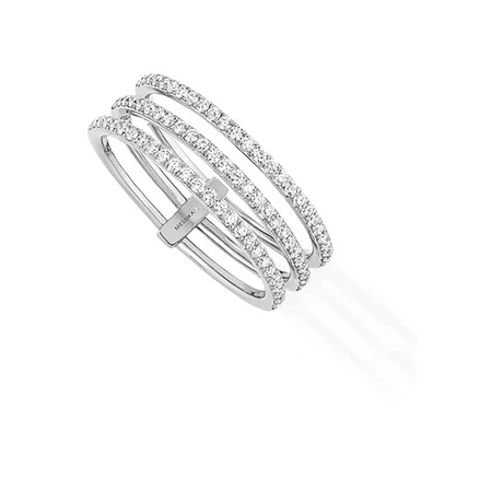 Messika Gatsby Three Row Diamond Ring in 18ct White Gold