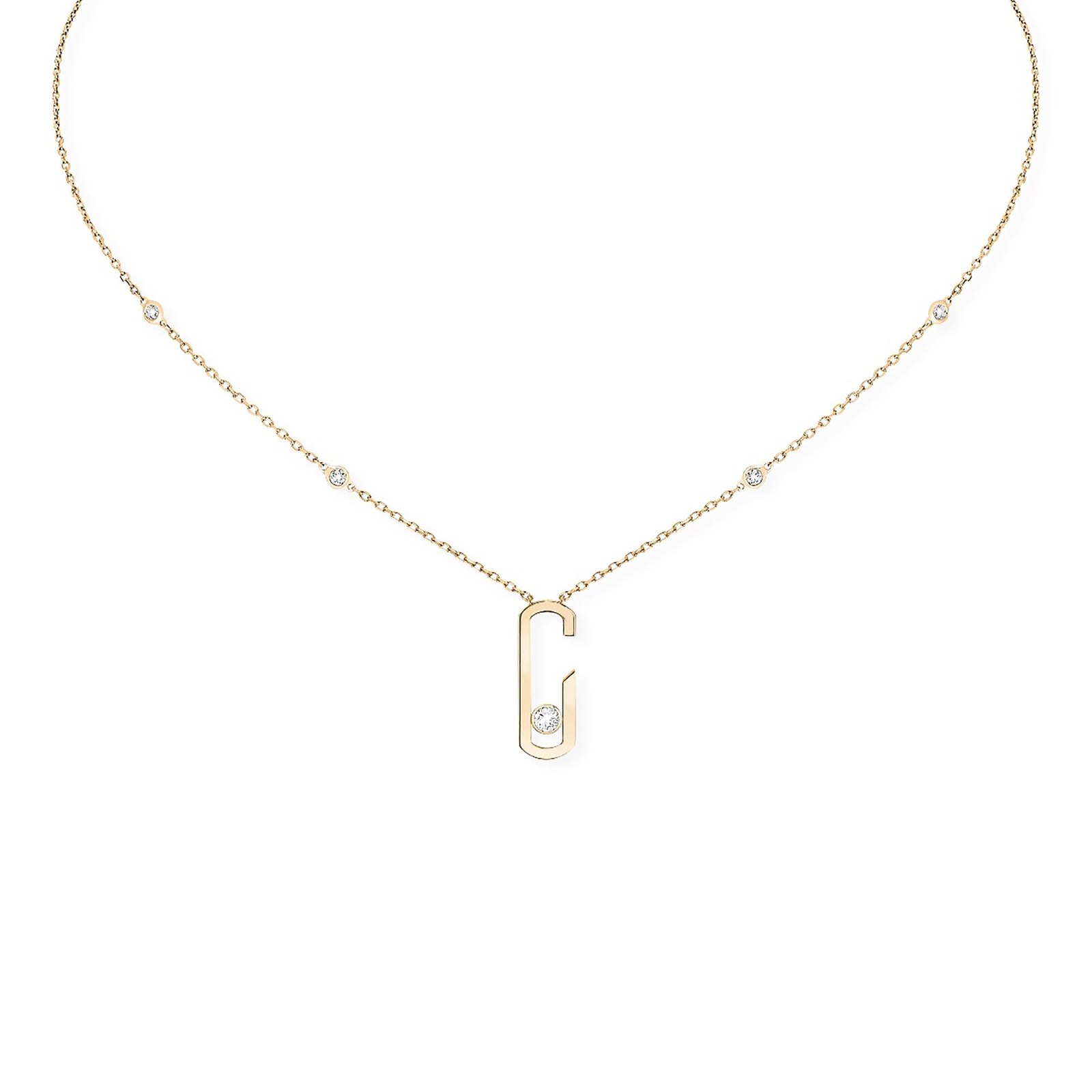 necklace monogram plain maltin m by collection kismet gold milka