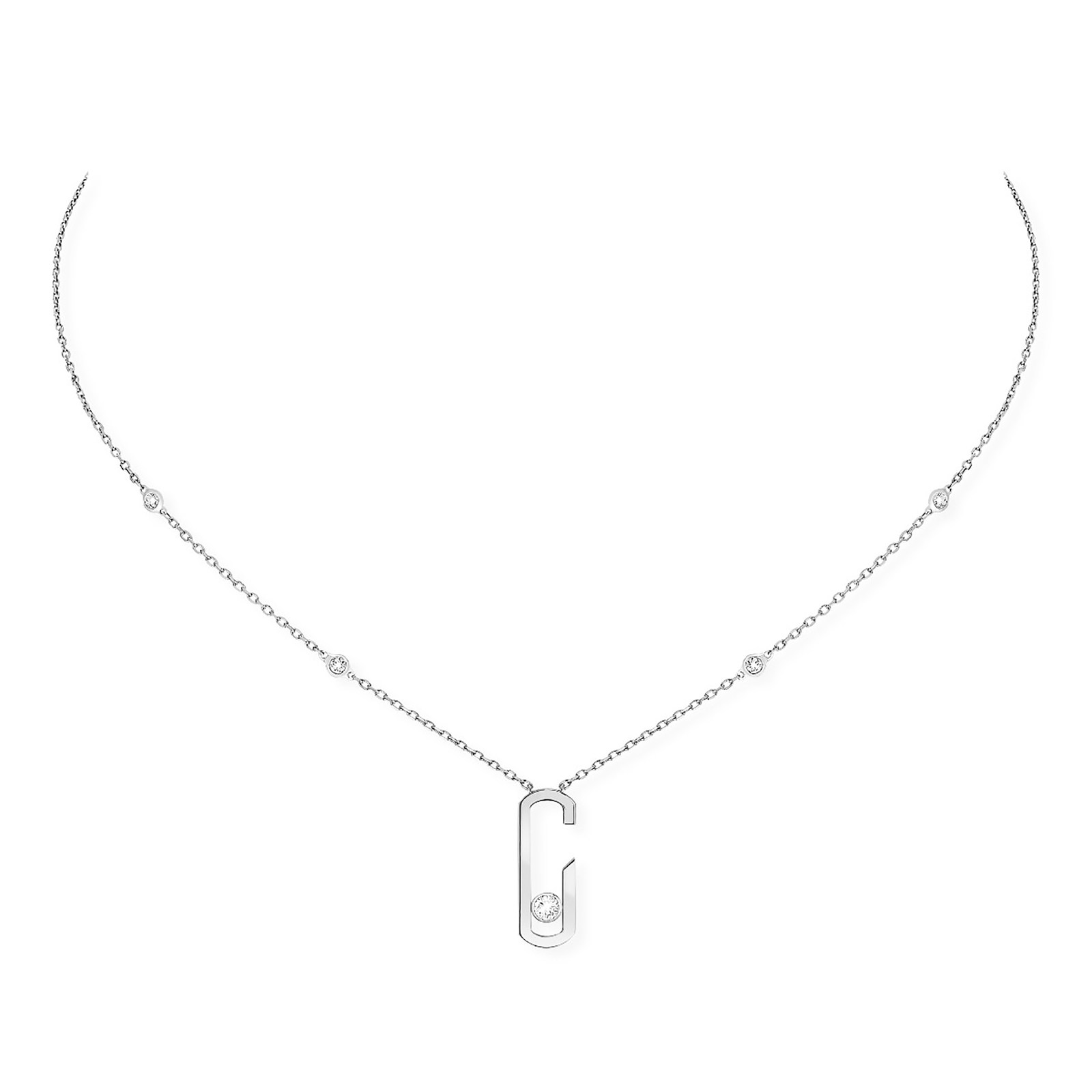 necklace short folli plain en chain cm follie plated hires silver