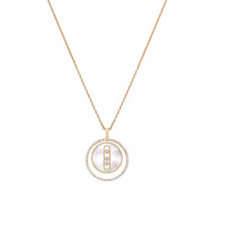 Messika 18ct Rose Gold Mother of Pearl Lucky Move Necklace