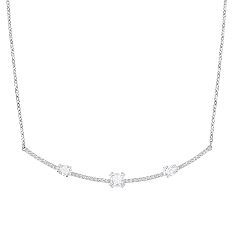 For Her - SWAROVSKI Rhodium Plated Gray Necklace - 5272361