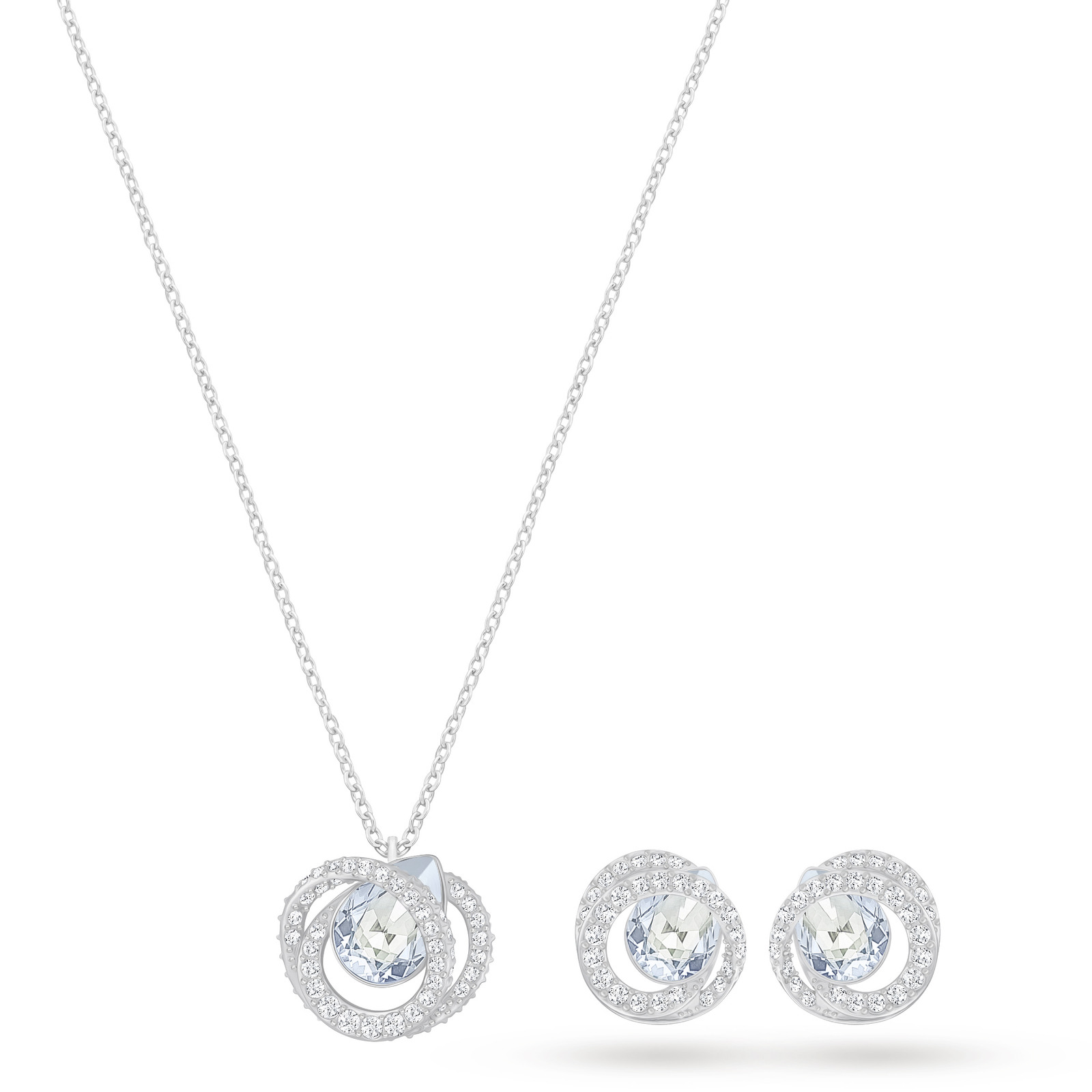 Swarovski Jewellery Las Rhodium Plated Generation Necklace And Earring Set