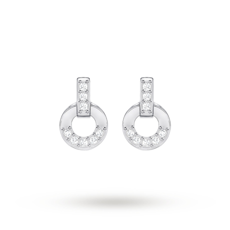 For Her - SWAROVSKI Circle Rhodium Plated Stud Earrings - 5349195