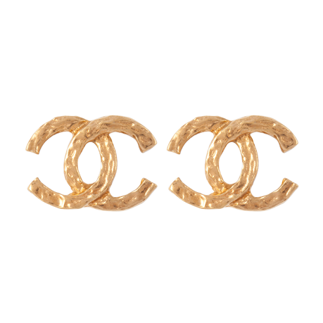 Exclusive Susan Caplan Vintage Chanel Hammered Logo Earrings