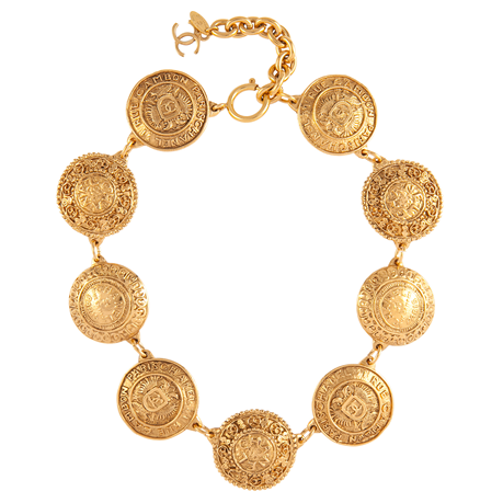 Exclusive Susan Caplan Vintage Chanel Gold Plated Coin Necklace