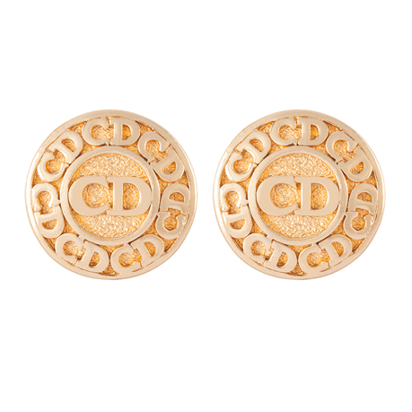 Exclusive Susan Caplan Vintage Christian Dior Gold Plated Monogram Clip On Earrings