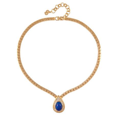 Exclusive Susan Caplan Vintage Blue Pear Crystal Dior Necklace