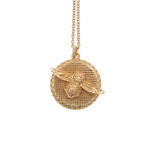 For Her - Olivia Burton Moulded Bee Disc Necklace Gold - OBJ16AMN08