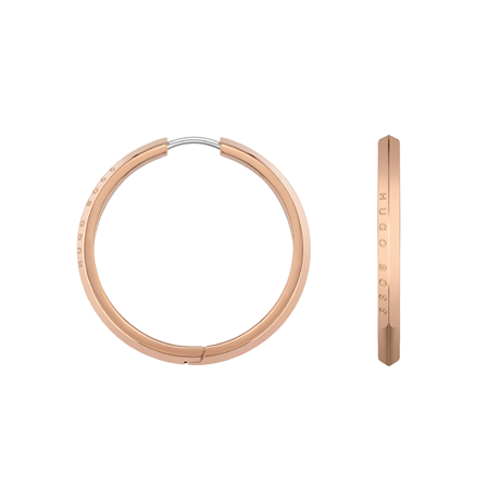 BOSS Insignia Rose Gold Coloured Hoop Earrings