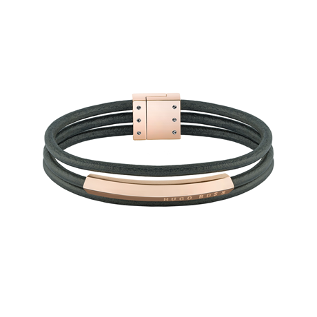 BOSS Insignia Grey Leather & Rose Gold Coloured Bracelet