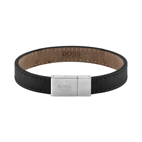 BOSS Leather Essentials Black Stainless Steel Bracelet