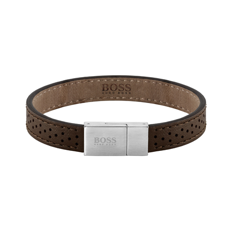 BOSS Leather Essentials Brown Stainless Steel Bracelet