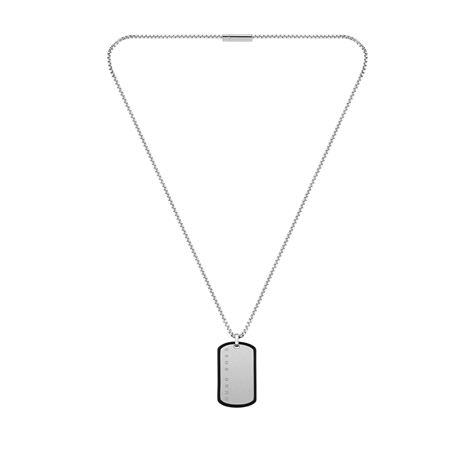 Hugo Boss ID Stainless Steel & Black Silicone Necklace