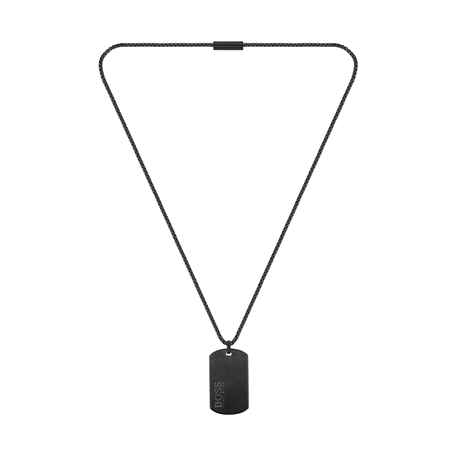 BOSS ID Black Plated Stainless Steel Necklace