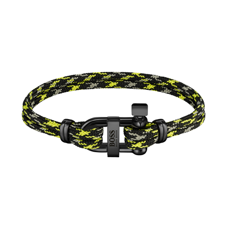 BOSS Sailing Cord Grey & Black Cord Stainless Steel Bracelet